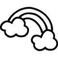落書き風の黒い線で書いた雲と虹のイラスト、アイコン