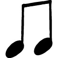 手書き風の音符のアイコン、イラスト