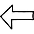 黒い線で描かれた手書きの左向き矢印