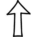 黒い線で描かれた手書きの上向き矢印、jpg画像
