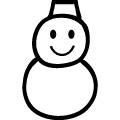 黒い線で描かれた雪だるまのアイコンのjpg画像
