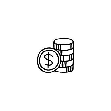 積み上げたドル硬貨