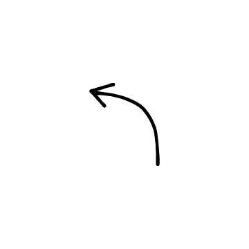 左にカーブしている矢印