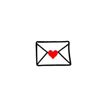 赤いハートの付いたラブレター
