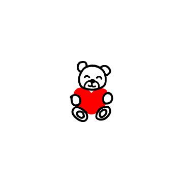 赤いハートを持ったクマのぬいぐるみ