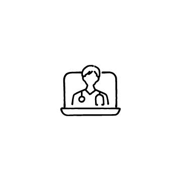 オンライン診療(ノートパソコンと男性医師)のアイコン