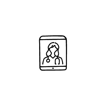 タブレットと女性医師のアイコンのアイキャッチ用画像