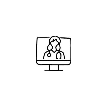 オンライン診療(パソコンと女性医師)のアイコン