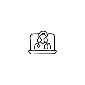 オンライン診療(ノートパソコンと女性医師)のアイコン