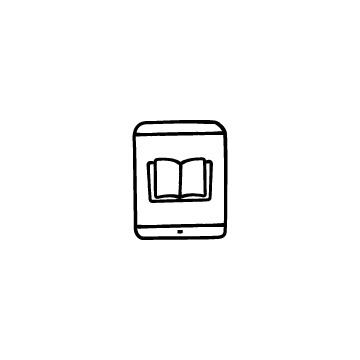 オンライン授業(タブレットと本)のアイコン