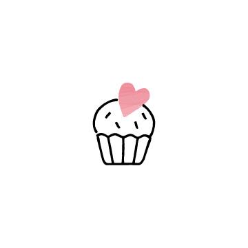 ピンク色のハートのカップケーキのアイコン