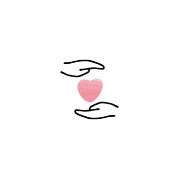 ピンク色のハートと手のアイコン3