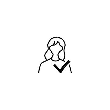 女性ユーザーとチェックマークのアイコン