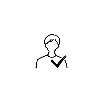 男性ユーザーとチェックマークのアイコンのアイキャッチ用画像
