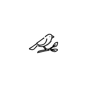 鳥と木の枝のアイコン