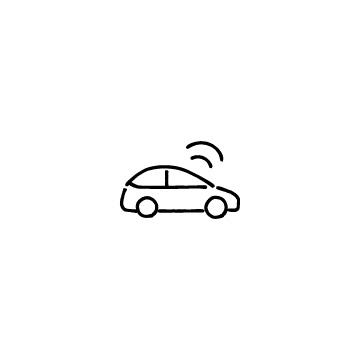 横向きの自動運転車のアイコン