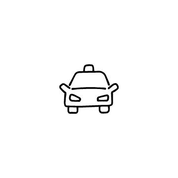 正面向きのタクシーのアイコン