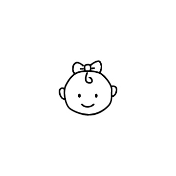 リボンをした赤ちゃんの顔のアイコンのアイキャッチ用画像