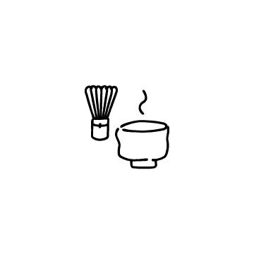 抹茶茶わんと茶せんのアイコンのアイキャッチ用画像