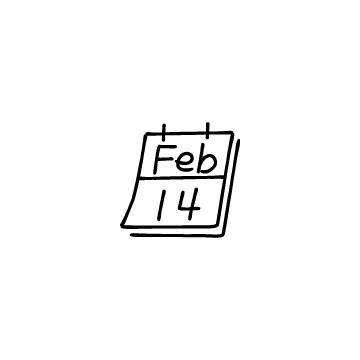2月14日のカレンダーのアイコンのアイキャッチ用画像