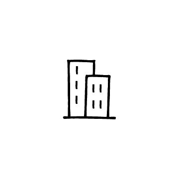 2つ並んだ建物、ビルのアイコン