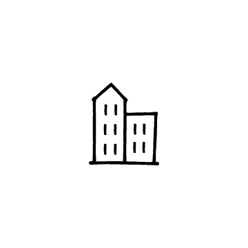 三角の屋根と平らな屋根のビル、建物、マンションのプレビュー画像