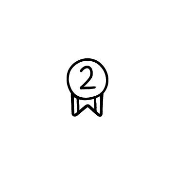 2と書かれたメダルのイラスト