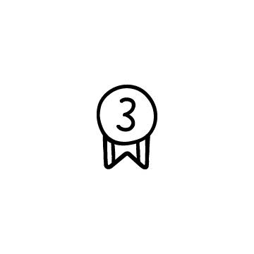 3と書いてあるリボンのついたメダルのイラスト