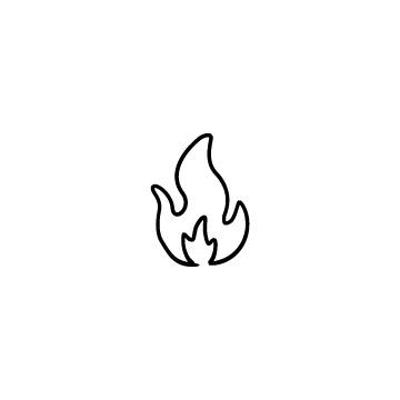 線で描いた火、炎のアイコンのアイキャッチ用画像
