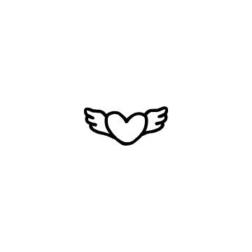 羽の付いたハート