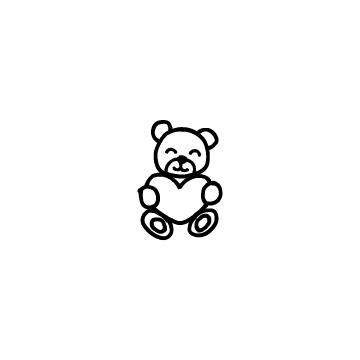 ハートを持ったクマのぬいぐるみ