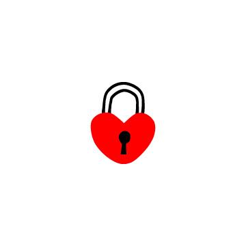 赤いハート型の南京錠