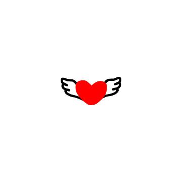 羽の付いた赤いハート