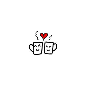 赤いハートと2つ並んだ笑顔のマグカップ