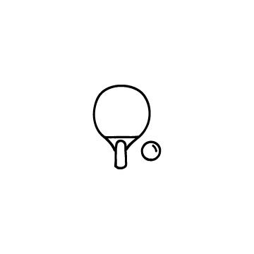 卓球のラケットとボールのアイコンのアイキャッチ用画像