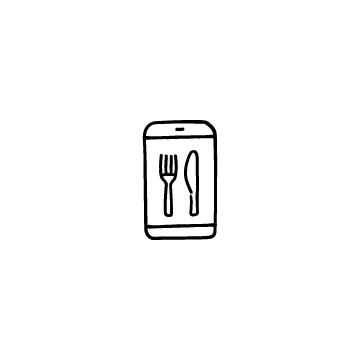 スマホとナイフ・フォークのアイコンのアイキャッチ用画像