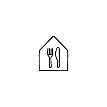 家とナイフ・フォークのアイコンのアイキャッチ用画像