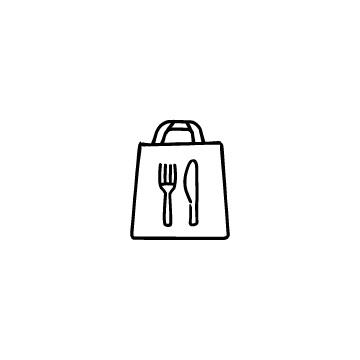 紙袋とナイフ・フォークのアイコンのアイキャッチ用画像