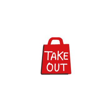 TAKE OUTと書かれた赤い紙袋のアイコンのアイキャッチ用画像