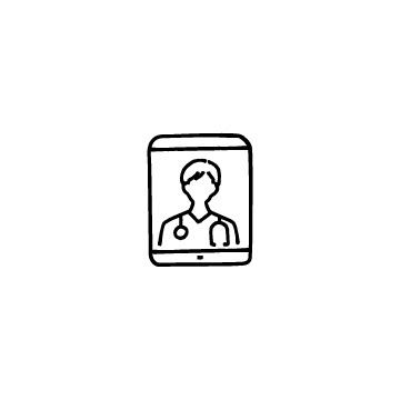 タブレットと男性医師のアイコンのアイキャッチ用画像