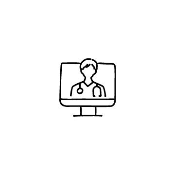 パソコンと男性医師のアイコンのアイキャッチ用画像