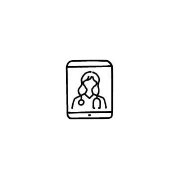 オンライン診療(タブレットと女性医師)のアイコン