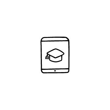 タブレットと博士帽のアイコンのアイキャッチ用画像