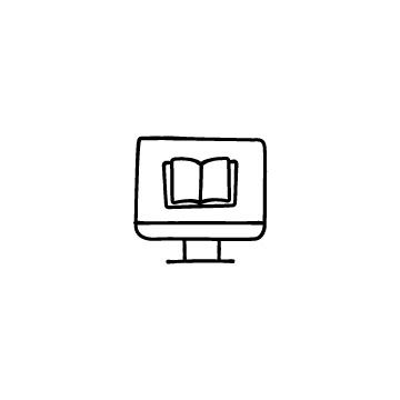 オンライン授業(パソコンと本)のアイコン