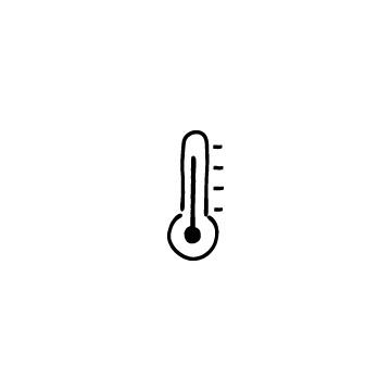 高温の温度計のアイコン