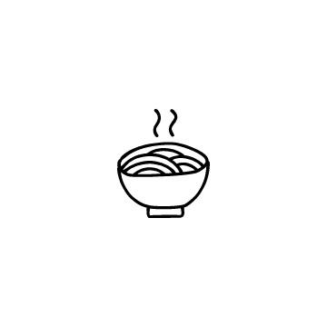 湯気の出ているラーメンのアイコンのアイキャッチ用画像