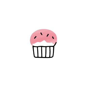 ピンク色のカップケーキのアイコンのアイキャッチ用画像