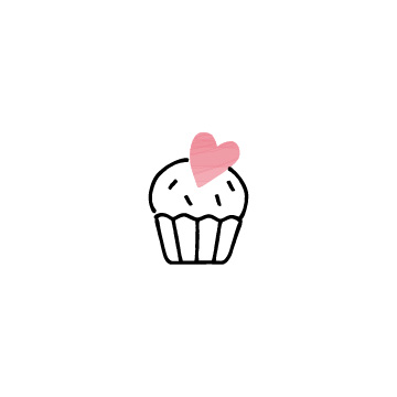 ピンク色のハートのカップケーキのアイコンのアイキャッチ用画像