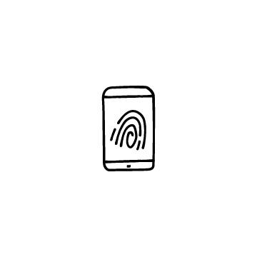 指紋とスマホのアイコン