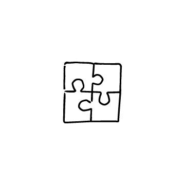 4ピースのジグソーパズルのアイコンのアイキャッチ用画像